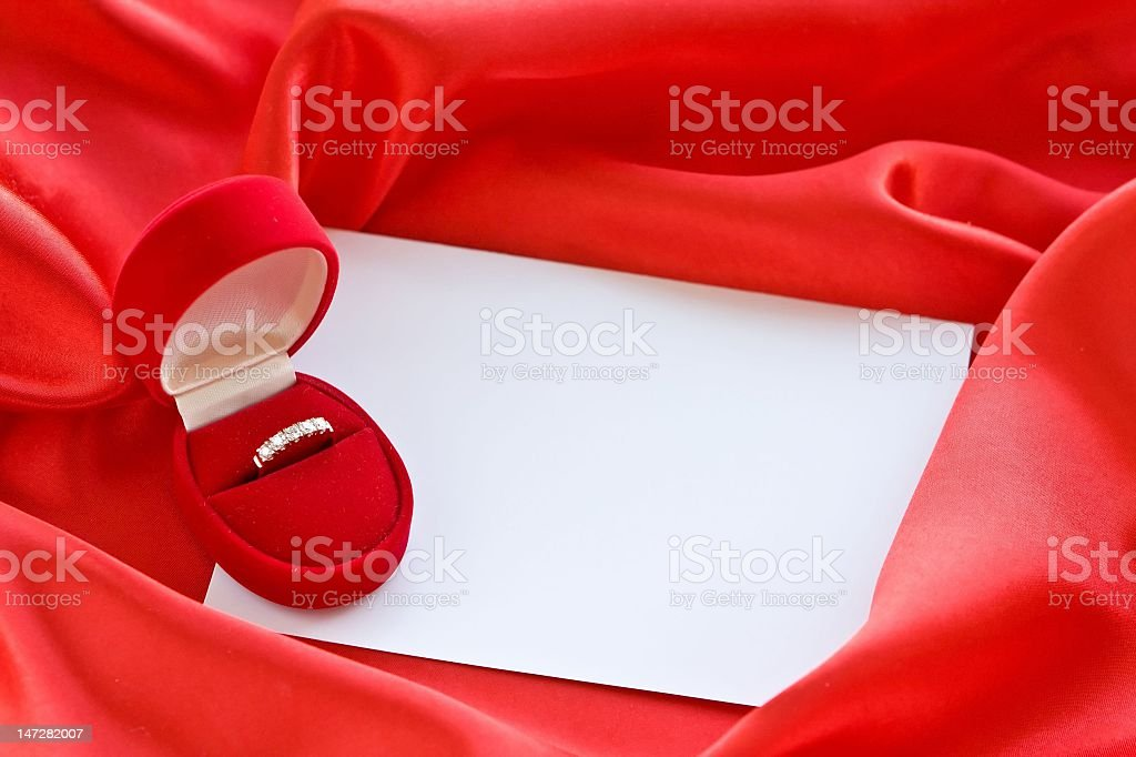 Gold ring in box royalty-free stock photo