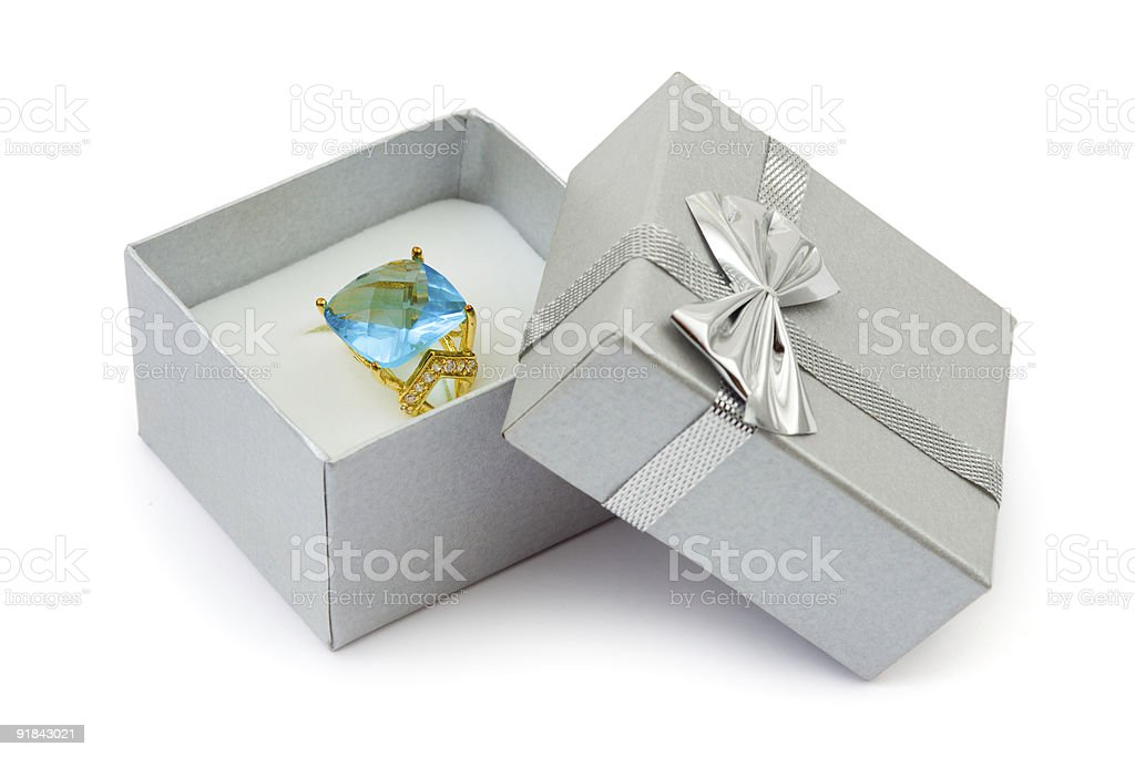 Gold ring in gift box royalty-free stock photo