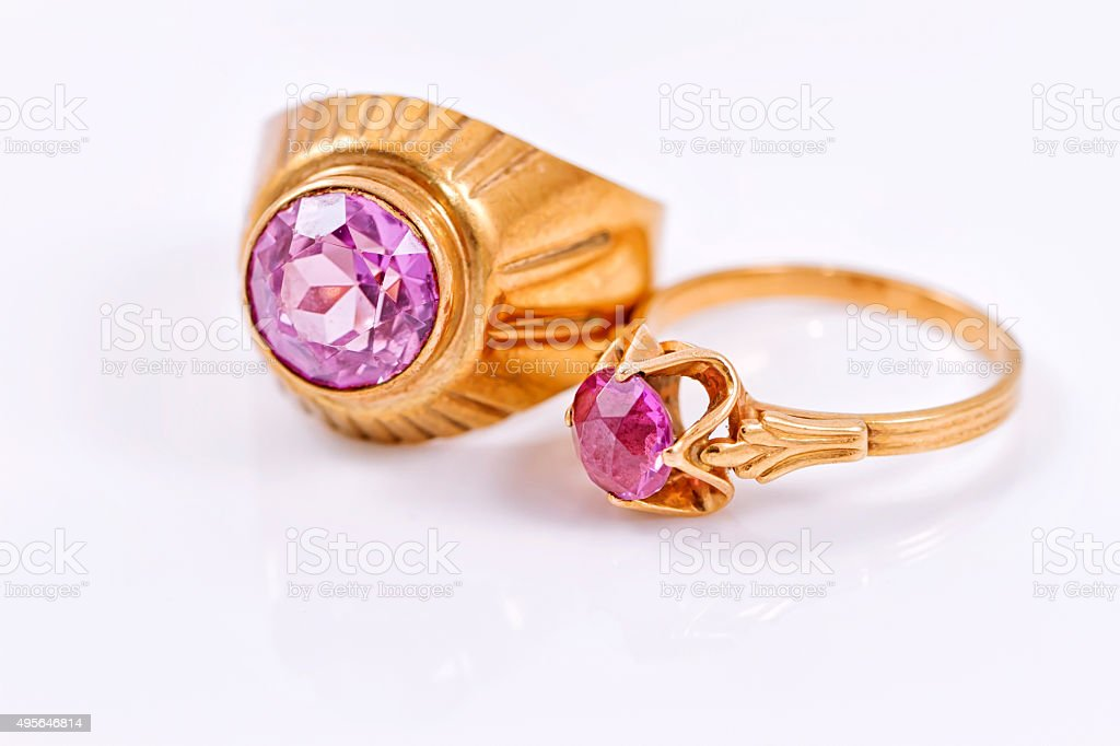 Gold ring with alexandrite stock photo