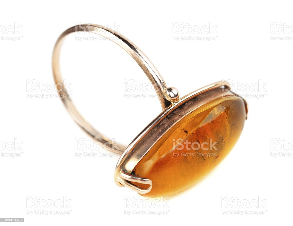 gold ring with amber royalty-free stock photo