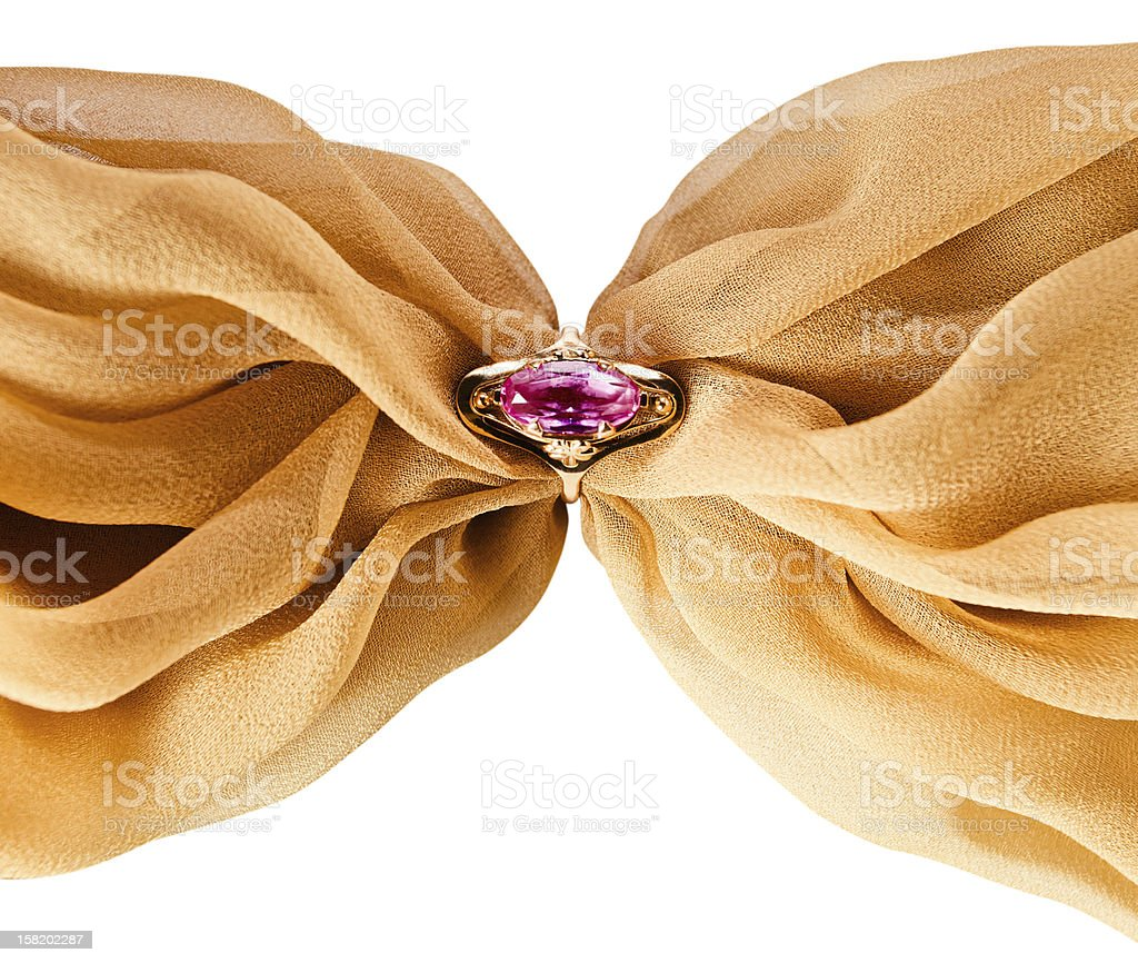 Gold ring with amethyst royalty-free stock photo