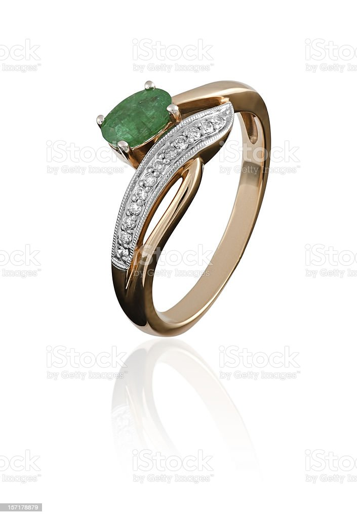 gold ring with an emerald stock photo