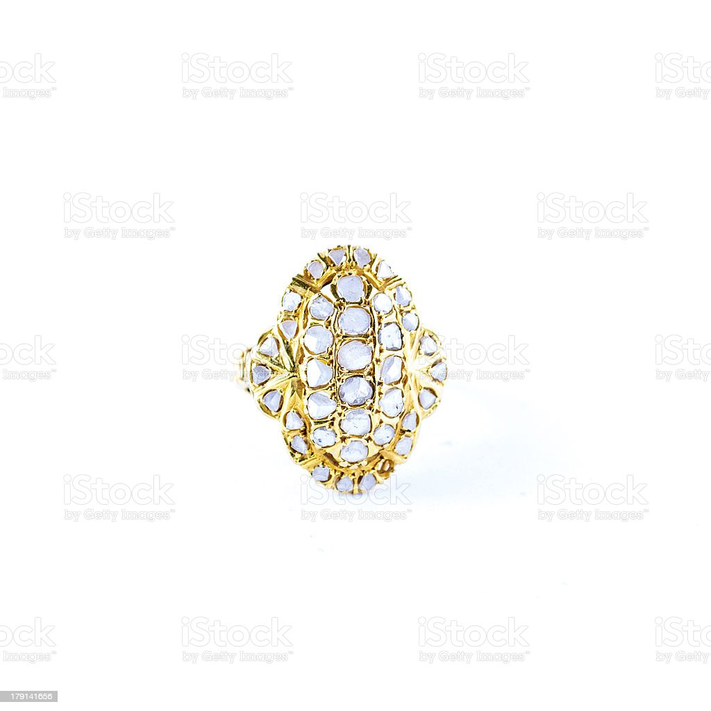 Gold ring with brilliant royalty-free stock photo