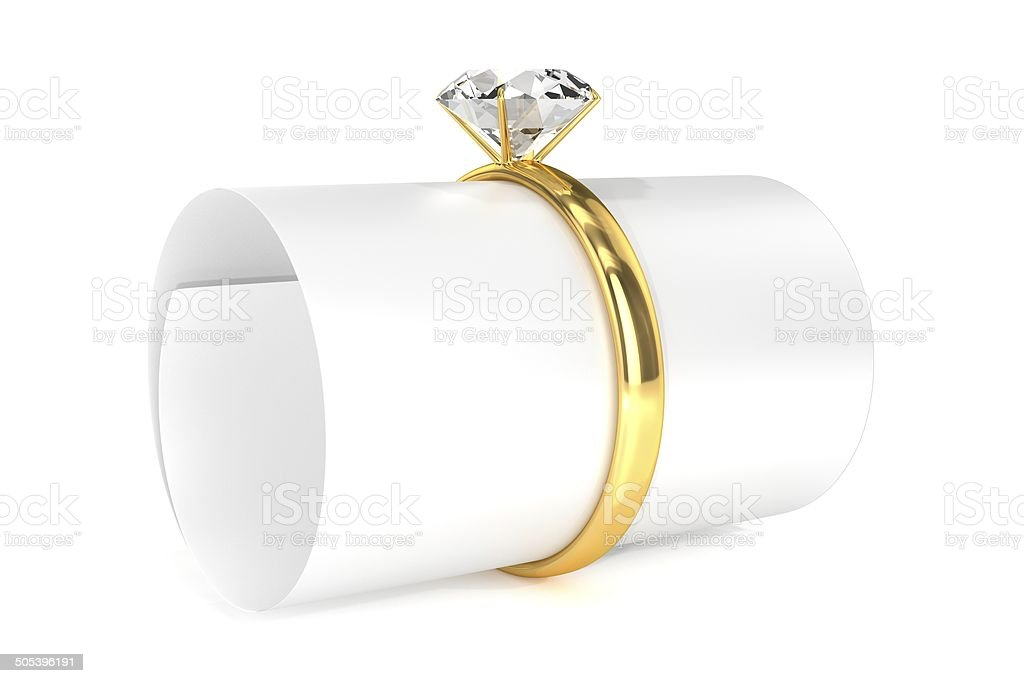 Gold Ring with Message royalty-free stock photo