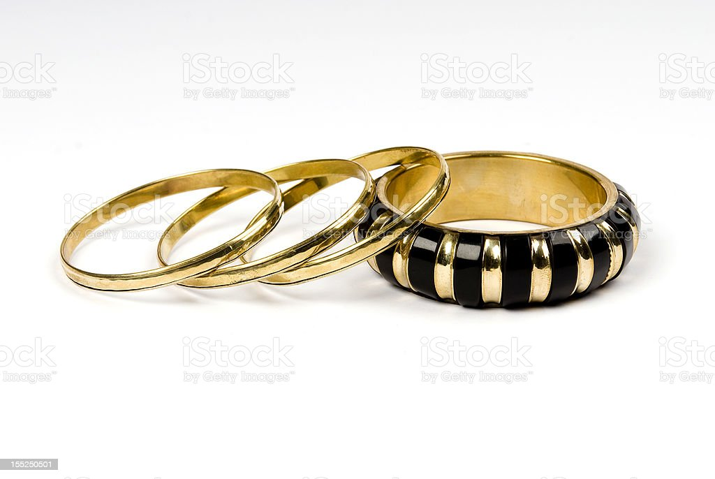 Gold rings isolated against stock photo