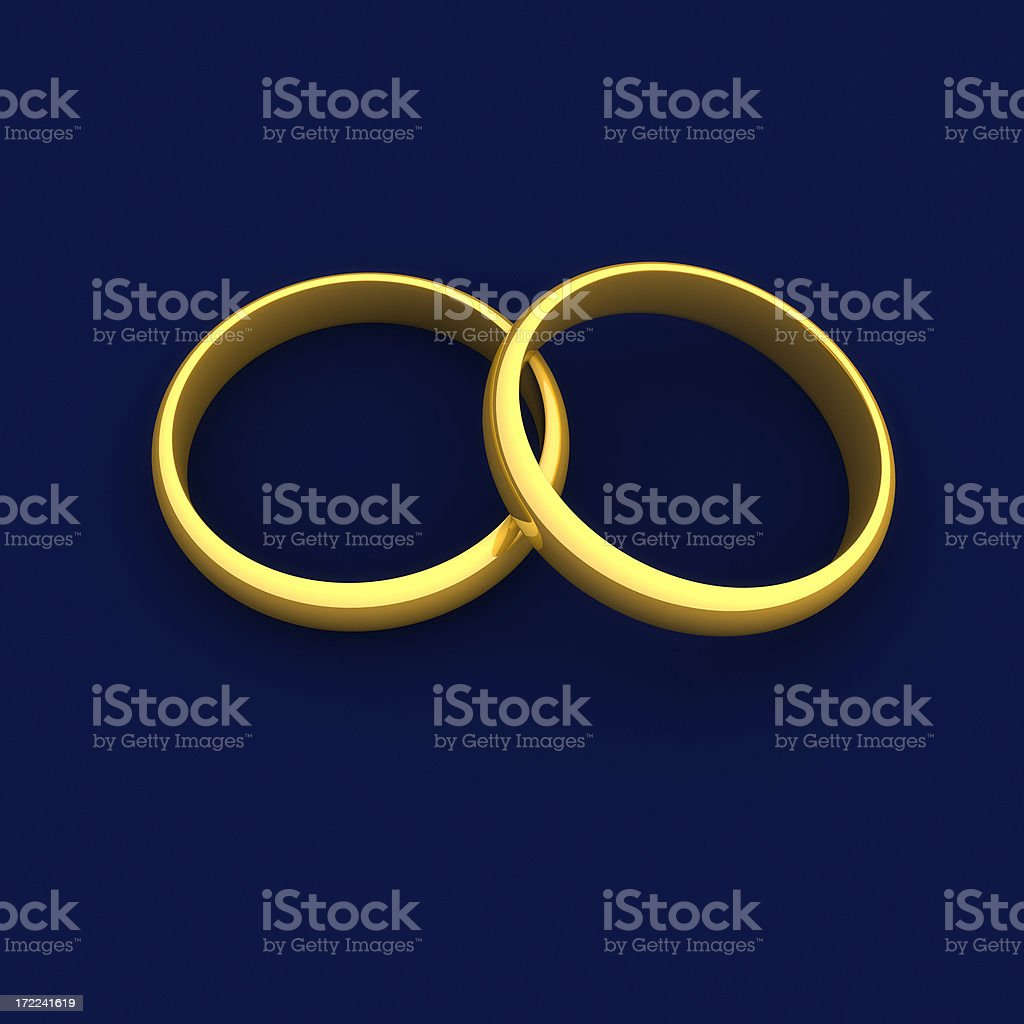Gold Rings on Blue royalty-free stock photo