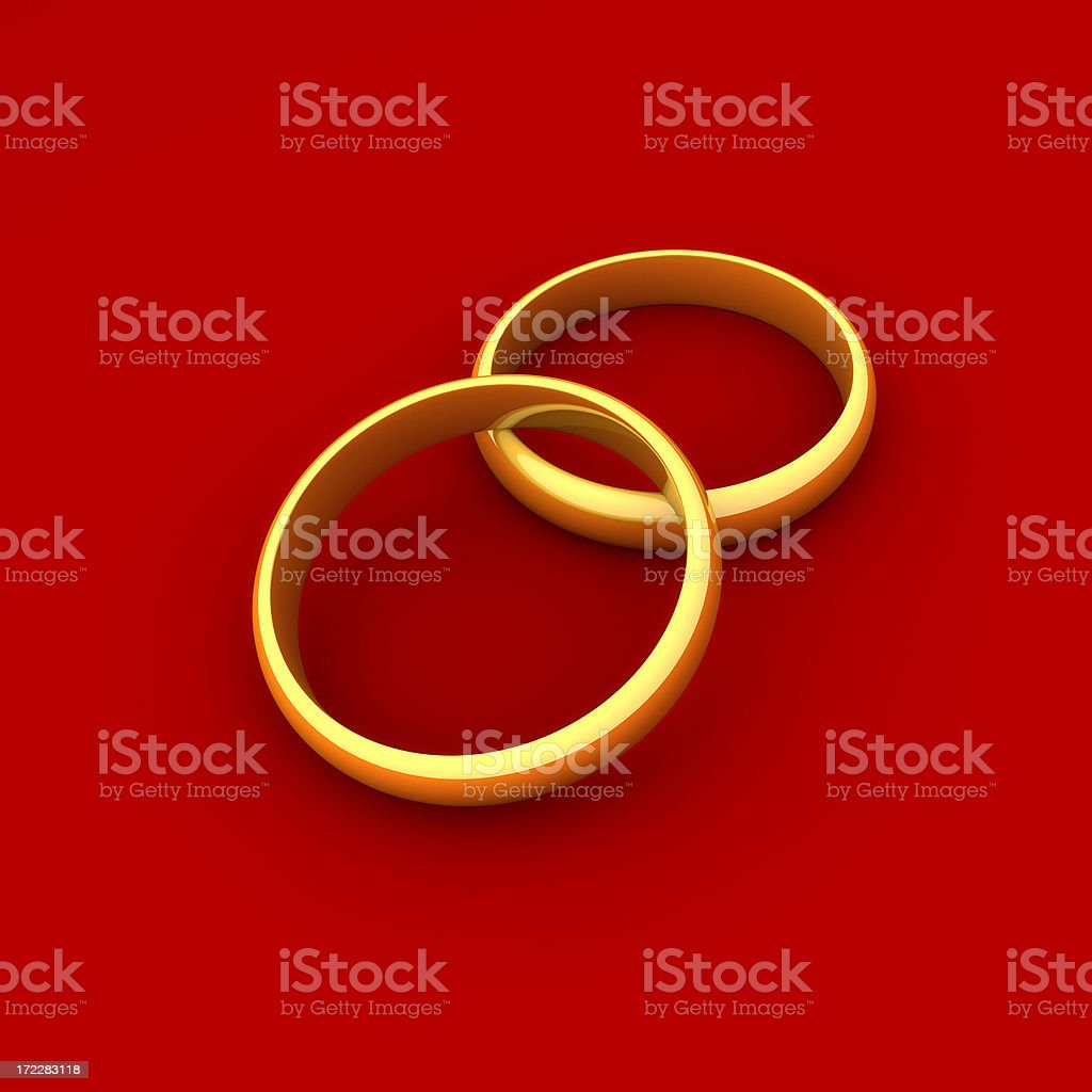 Gold Rings on Red royalty-free stock photo