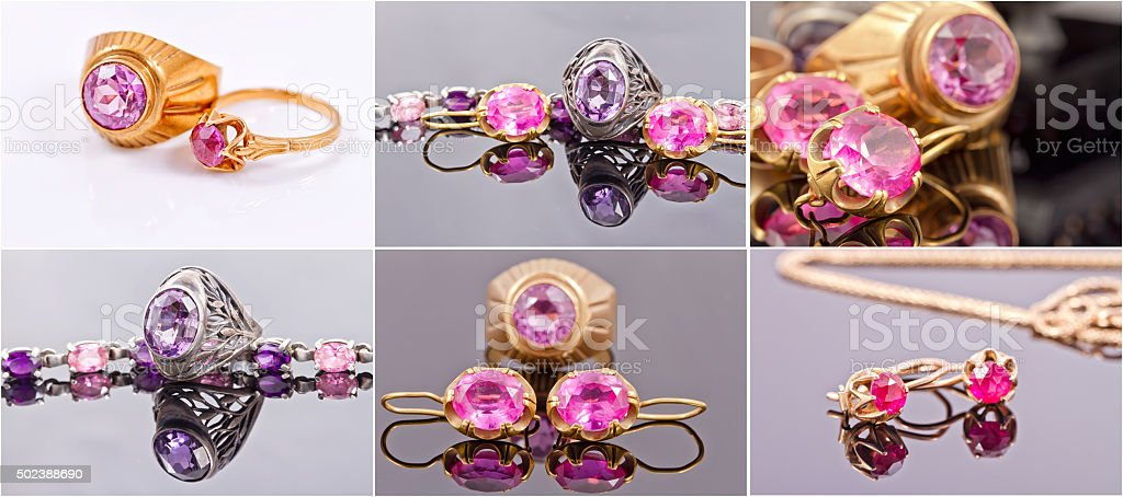 Gold rings with alexandrite stock photo