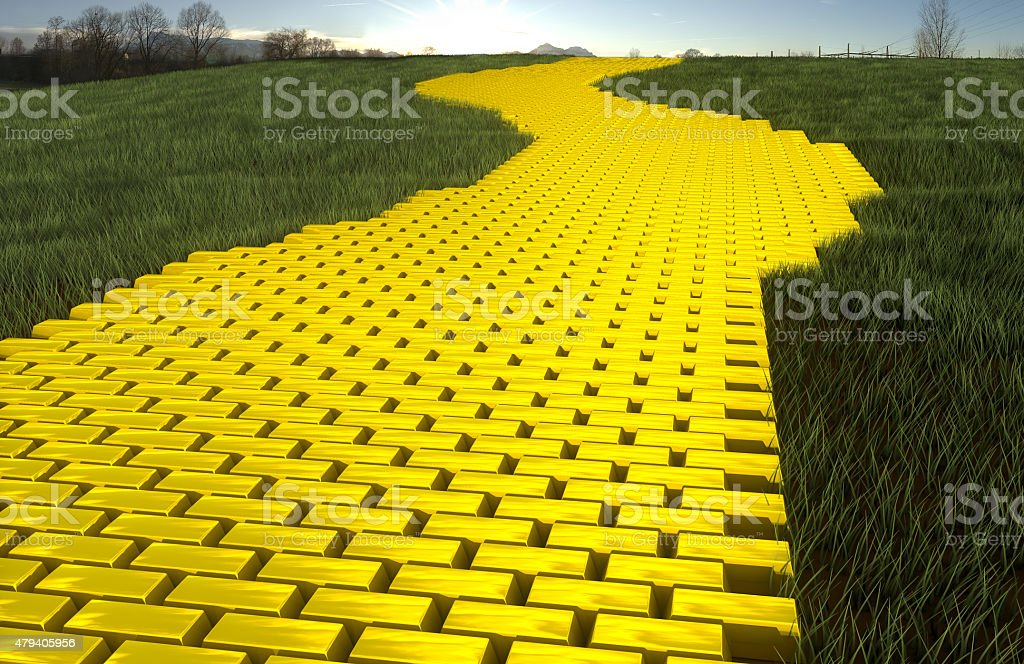 Gold road stock photo