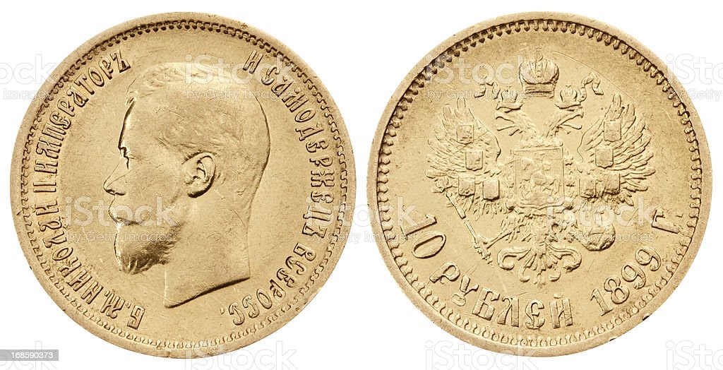 Gold russian coin on white background royalty-free stock photo