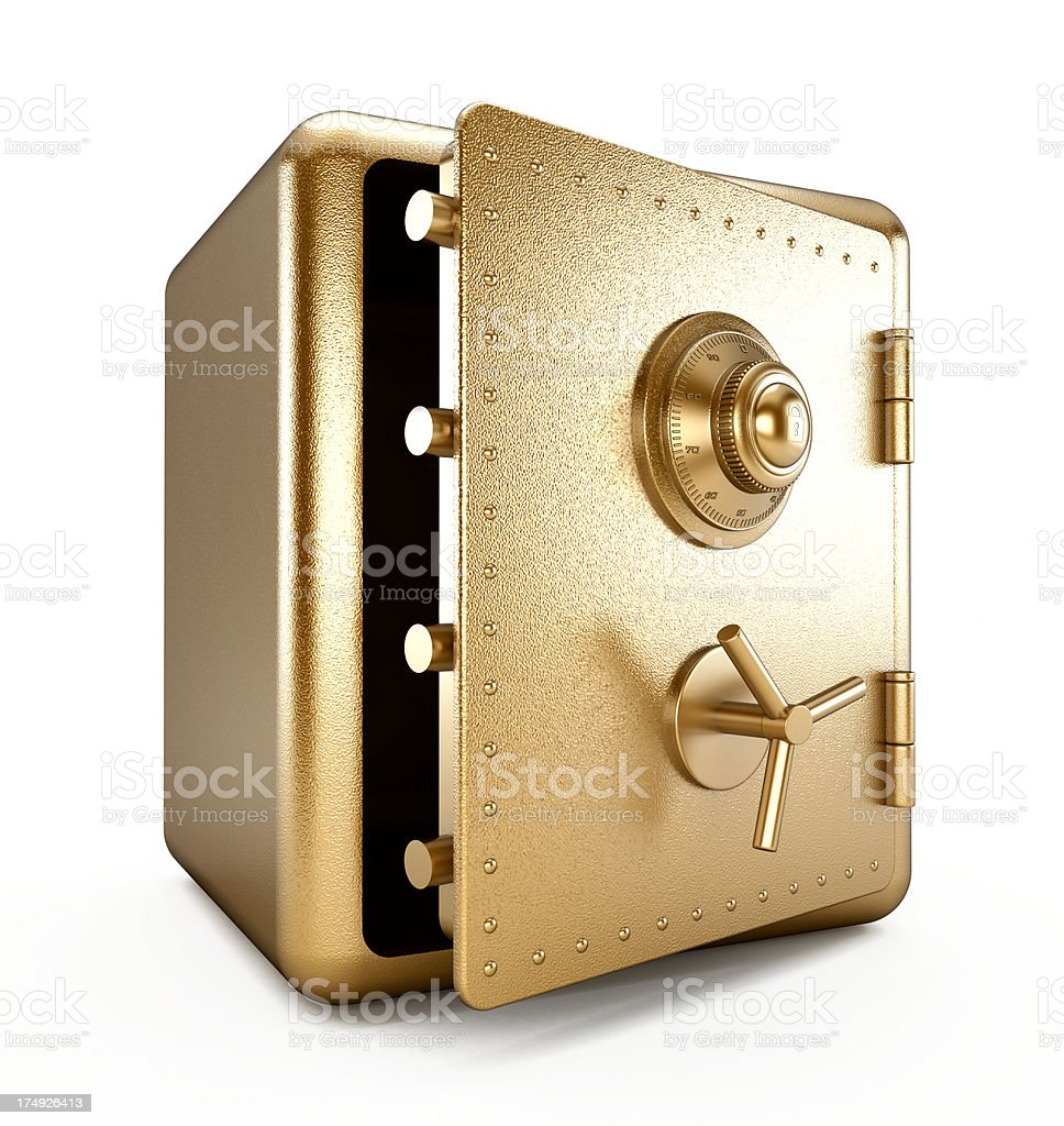 Gold safe (Half open) stock photo