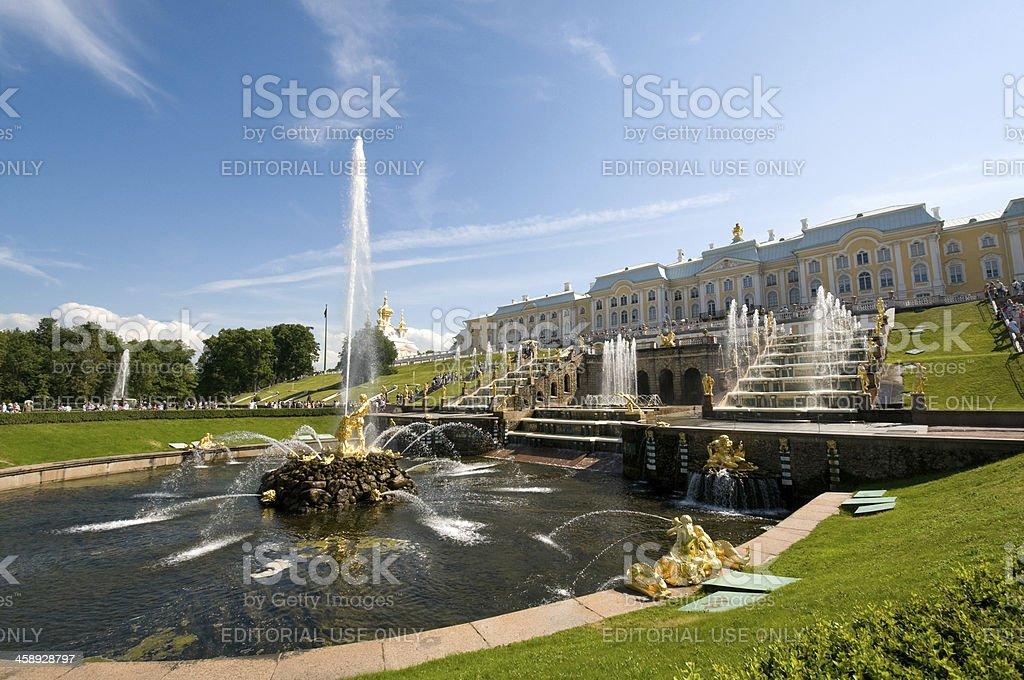Gold Samson fountain, Peterhof Palace, St Petersburg, Russia stock photo