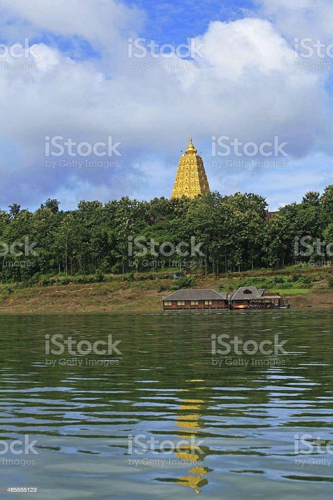 Gold sanctuary pagoda landmark at Sangklaburi, Thailand royalty-free stock photo