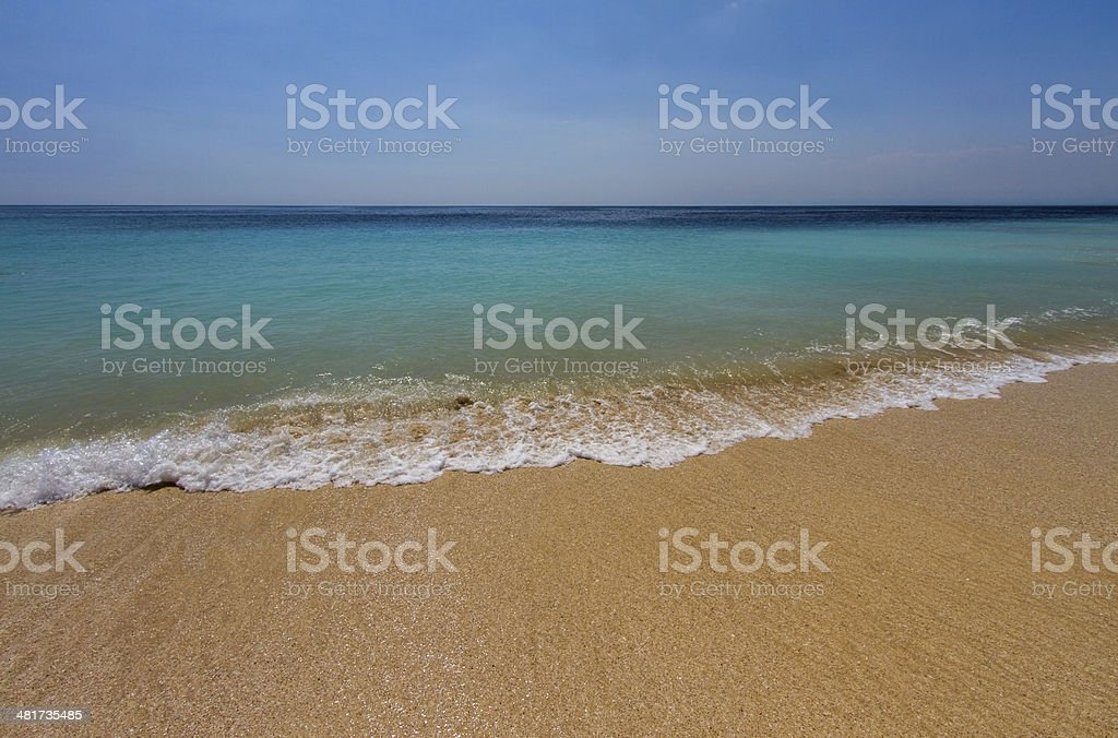 Gold sand beach with wave breaking royalty-free stock photo