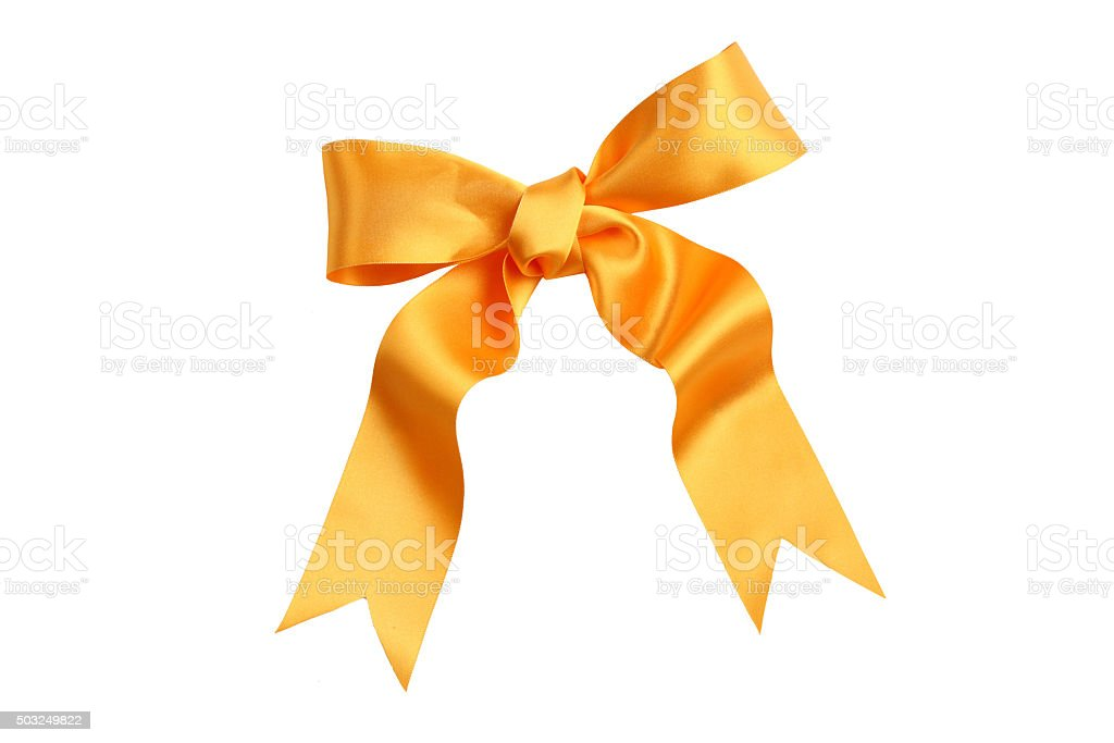 Gold Satin Bow stock photo
