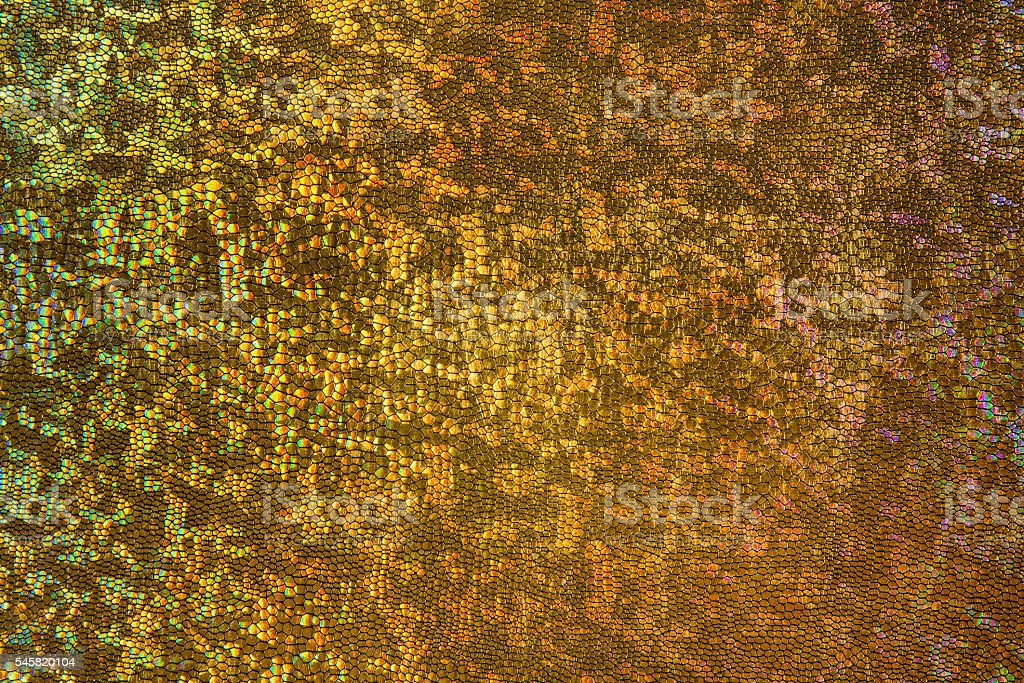Gold Scale Background, Scaly Fabric Pattern, Abstract Texture stock photo