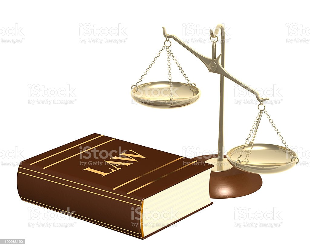 Gold scales and code of laws book royalty-free stock photo