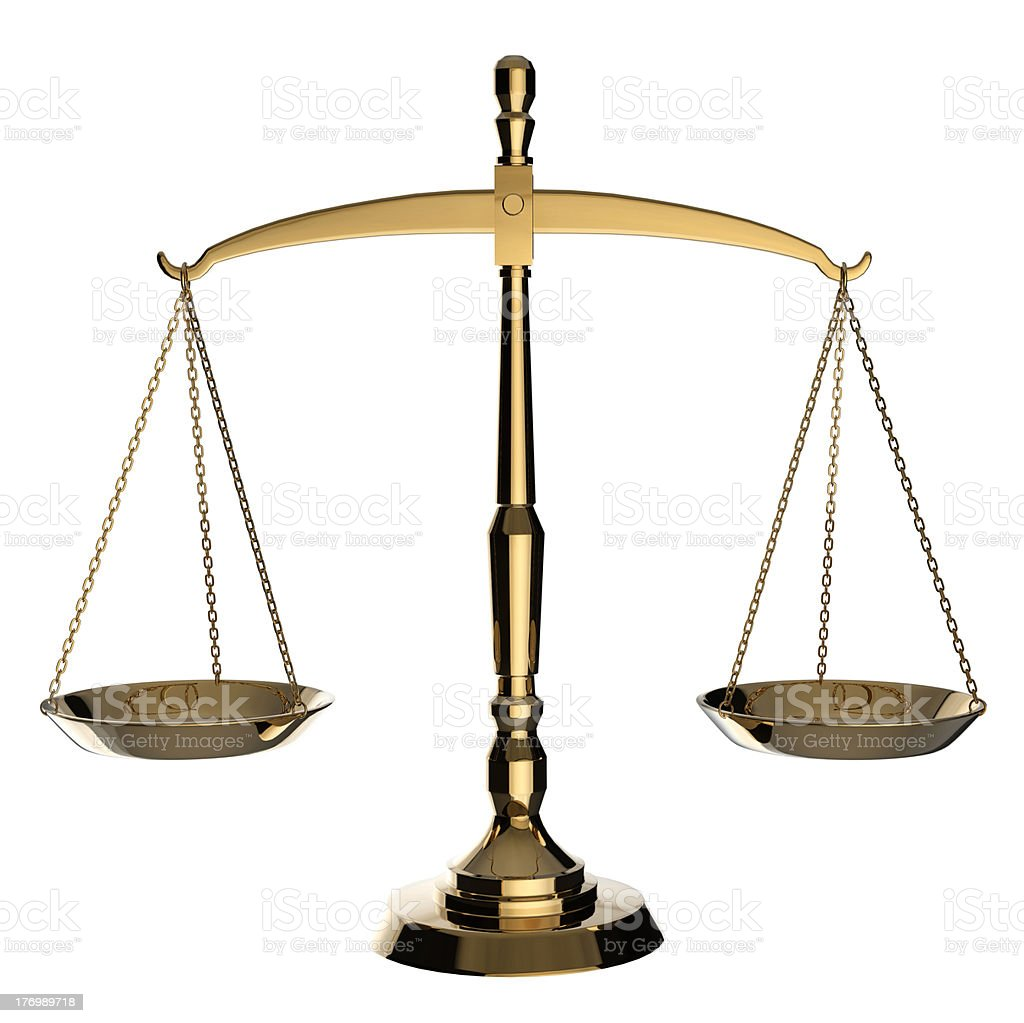 Gold scales of justice. stock photo