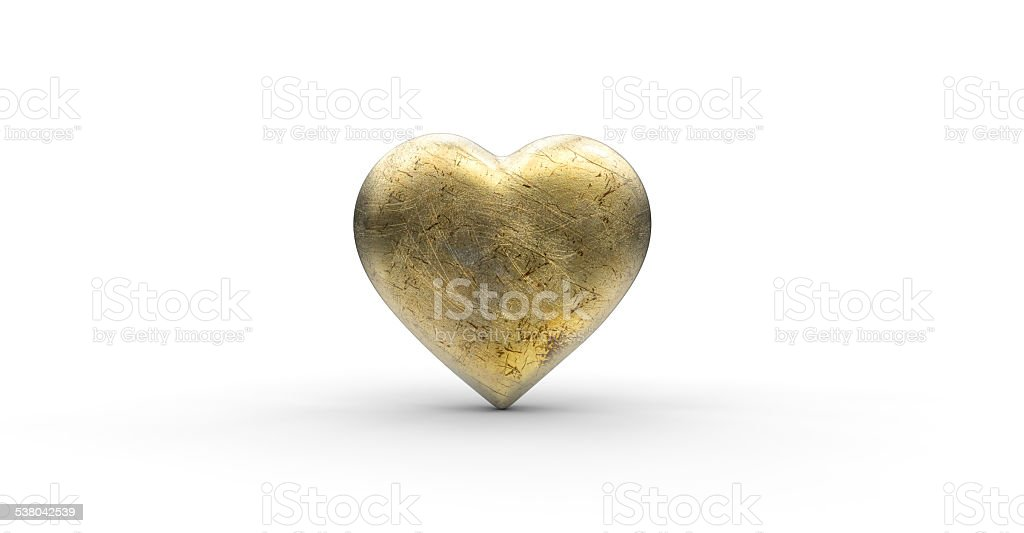 Gold scratched metal heart stock photo