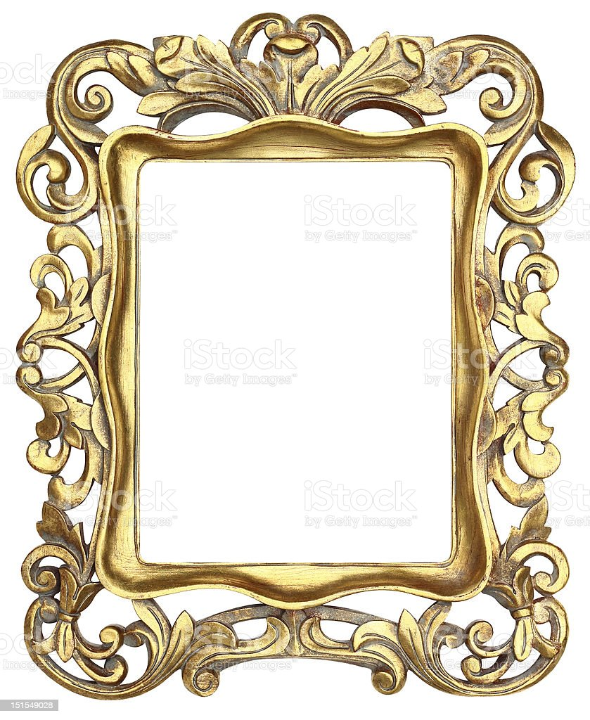 Gold Scroll Picture Frame royalty-free stock photo