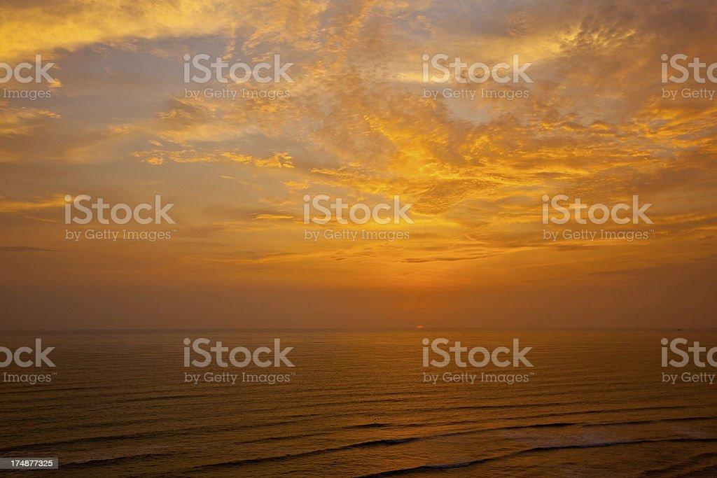 Gold sea sunset royalty-free stock photo
