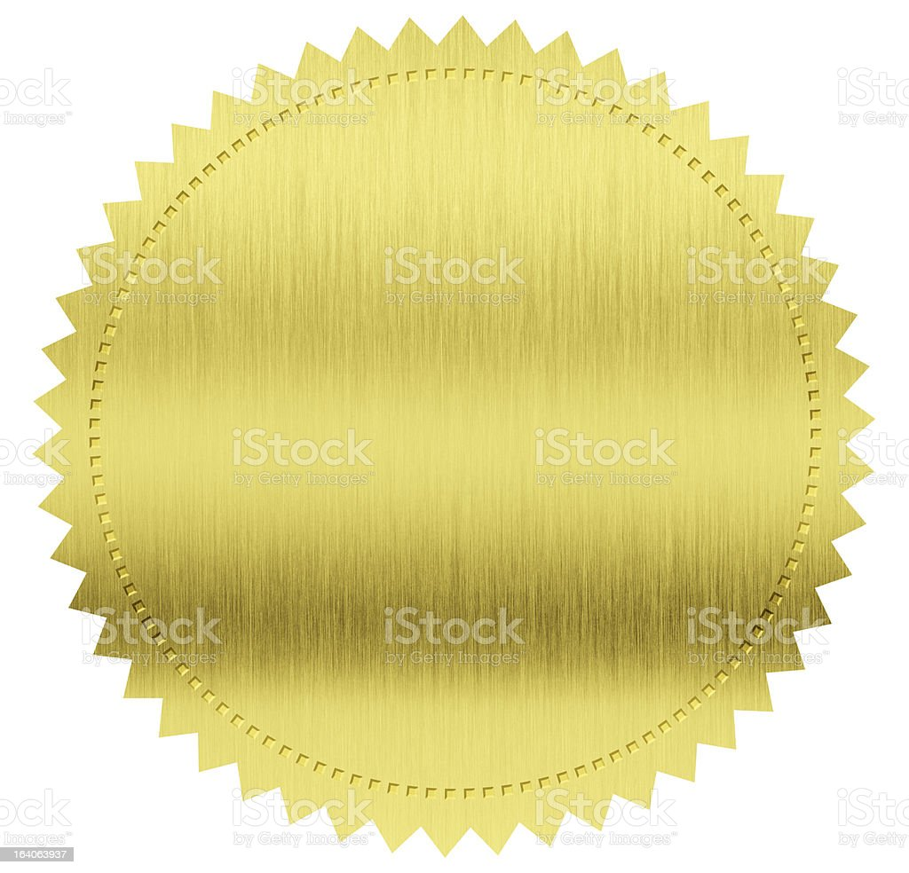 gold seal label with clipping path included stock photo