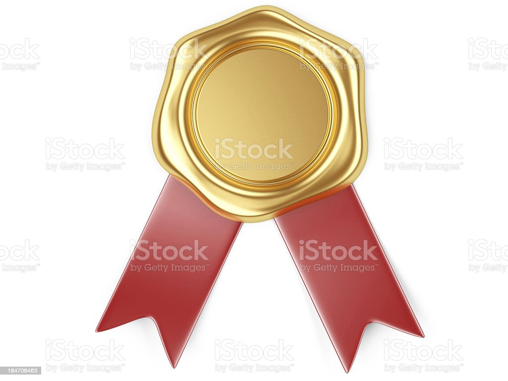 Gold seal with red ribbon stock photo
