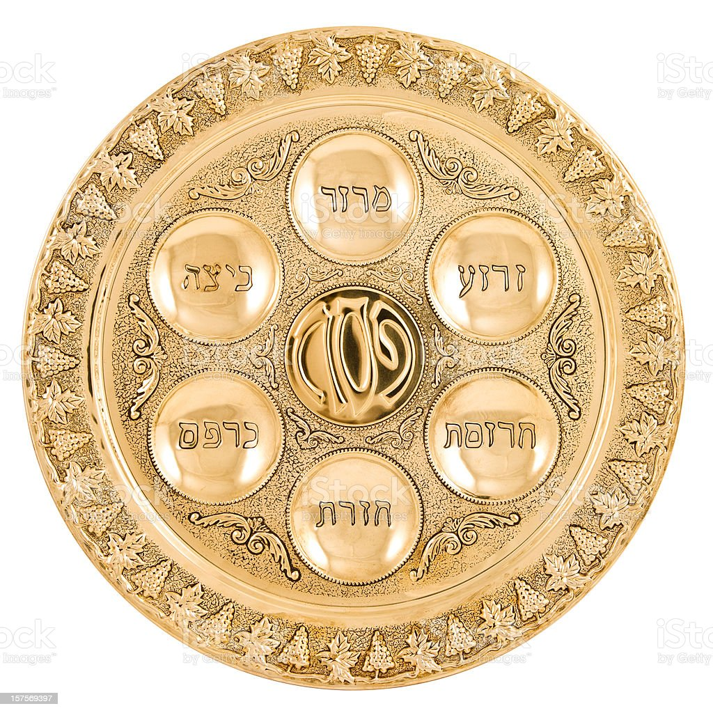 Gold Seder Plate stock photo