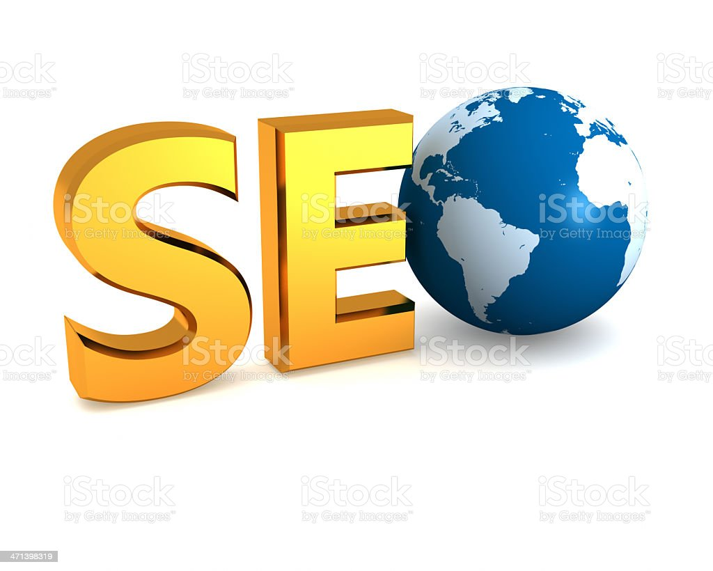 Gold SEO text with a globe stock photo
