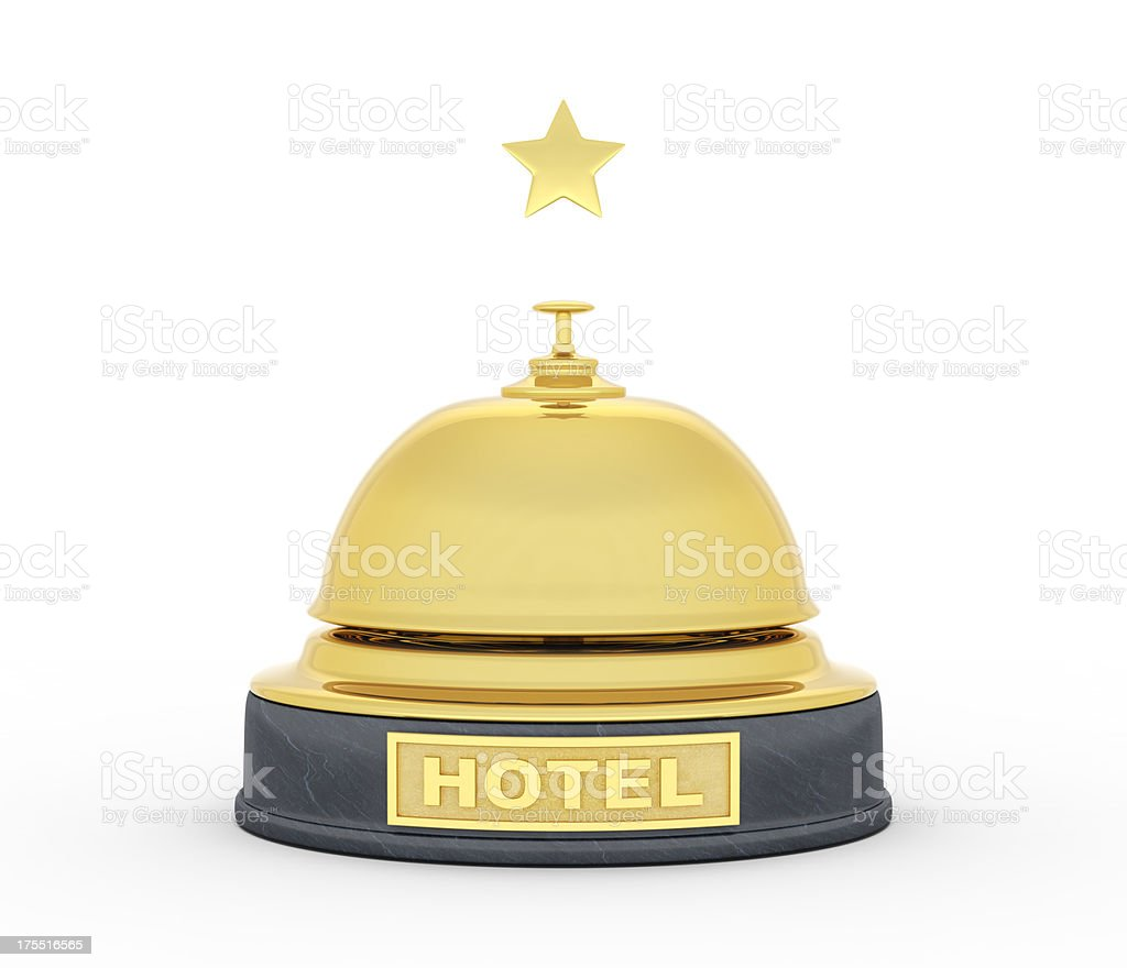 gold service bell for 1 star hotel royalty-free stock photo