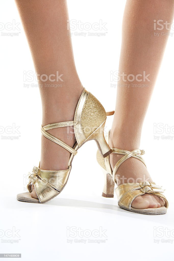 Gold shoes dancer royalty-free stock photo