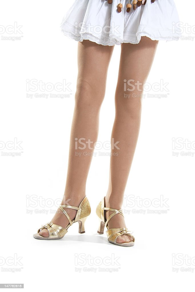 Gold shoes dancer stock photo