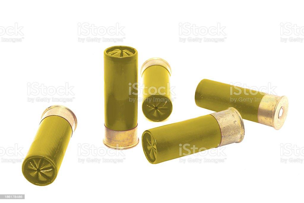 Gold shotgun shel stock photo