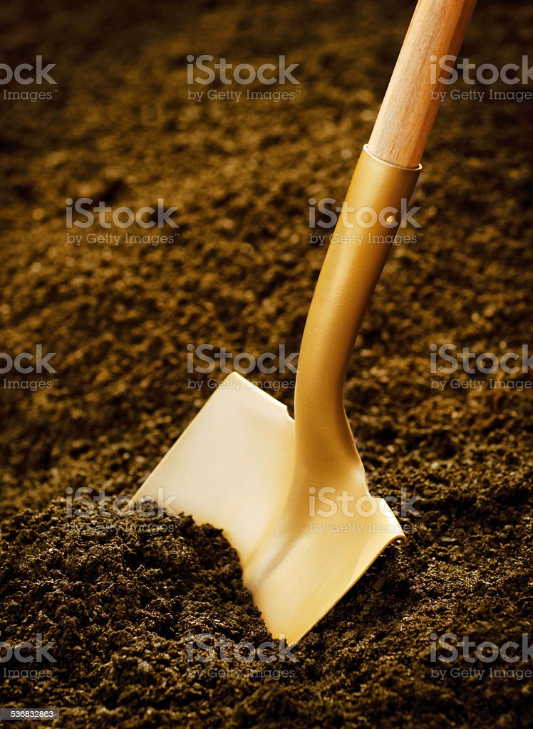 Gold Shovel stock photo