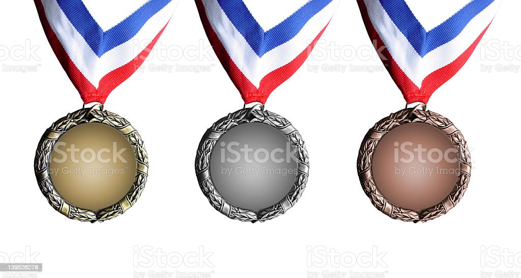 Gold, Silver, & Bronze Medals royalty-free stock photo