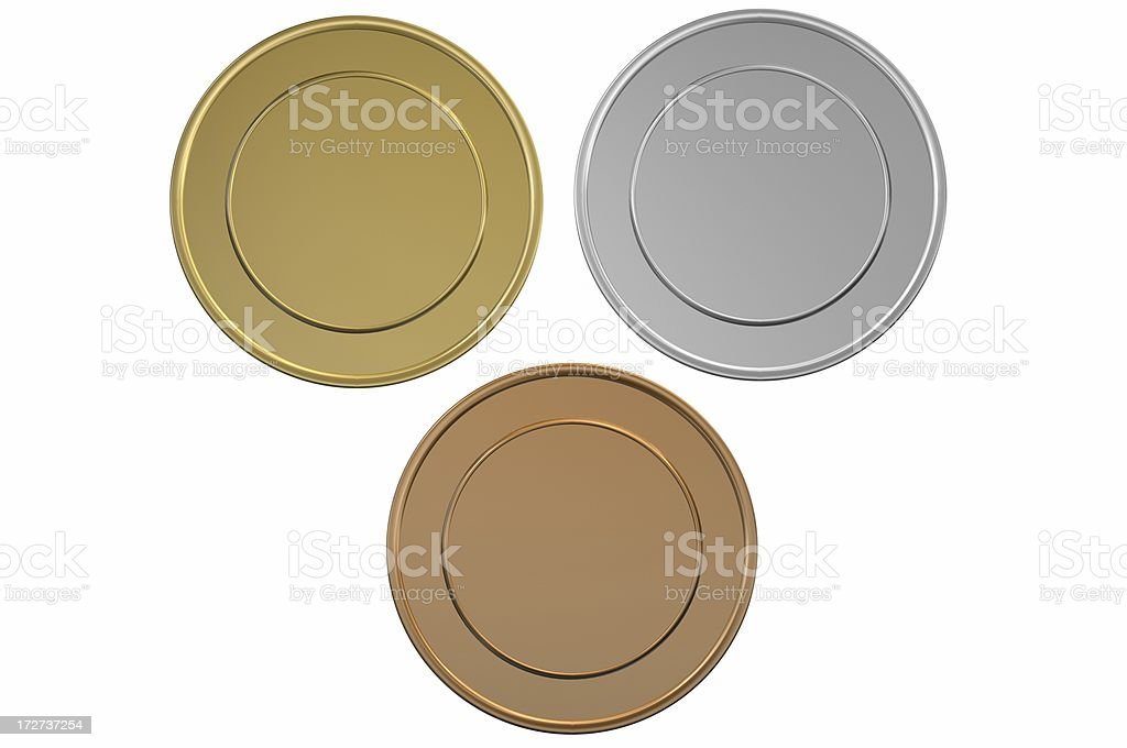 Gold Silver and Bronze blank medals/coins stock photo