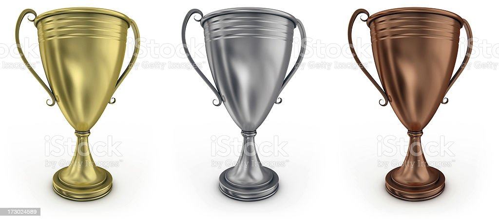 gold, silver and bronze cups royalty-free stock photo