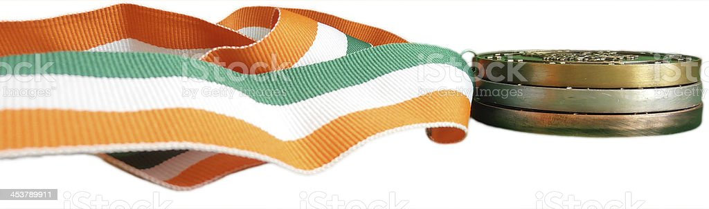 Gold Silver and Bronze Irish Medals royalty-free stock photo