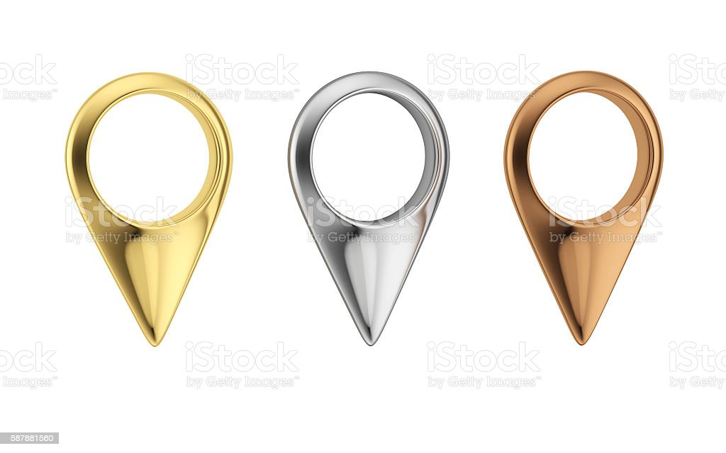 Gold, silver and bronze map pointers stock photo