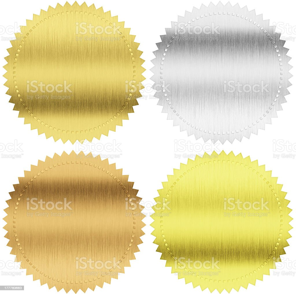gold, silver and bronze medals isolated with clipping path royalty-free stock photo