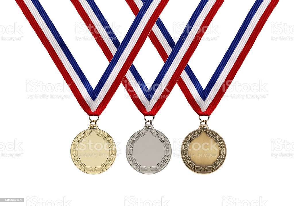 Gold, Silver and Bronze Medals on Ribbons with clipping path stock photo