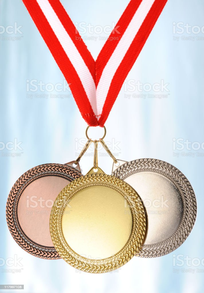 Gold silver and bronze medals stock photo