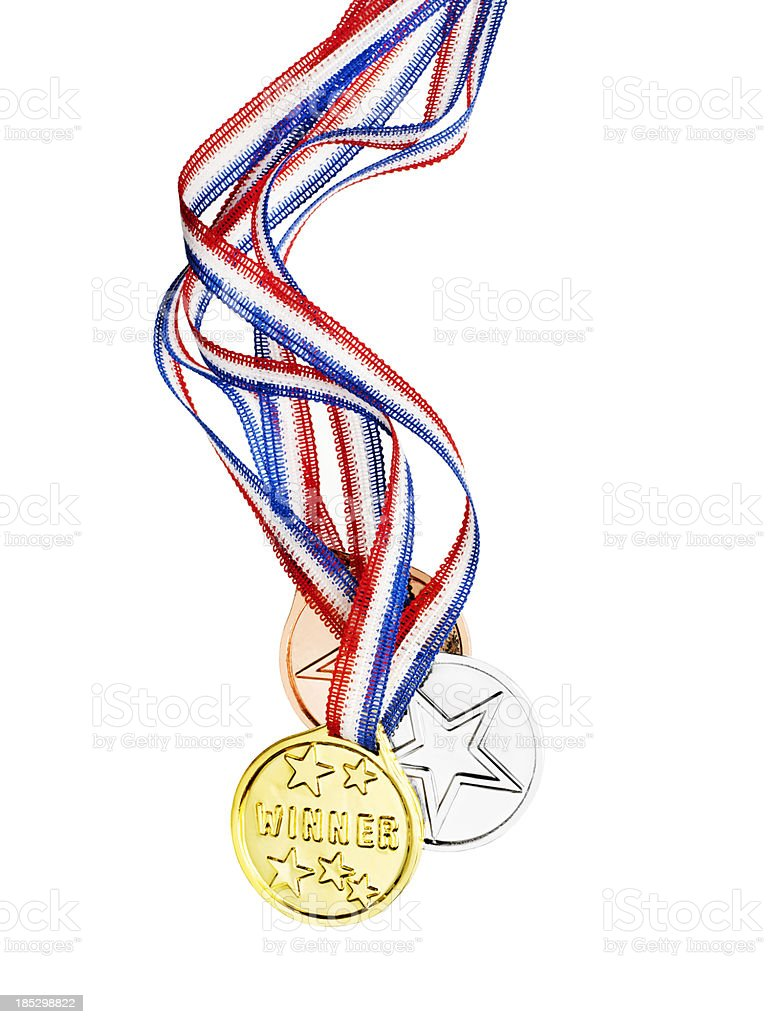 Gold, Silver and Bronze medals royalty-free stock photo