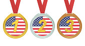 Gold, Silver and Bronze medals with USA flag, 3D rendering