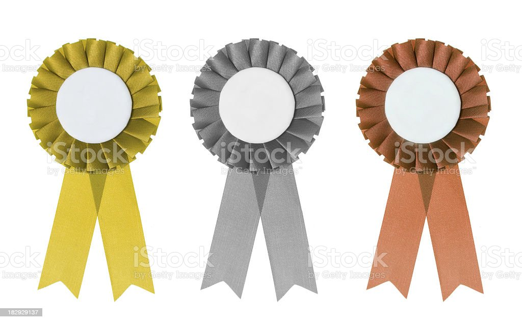 Gold silver and bronze rosettes stock photo