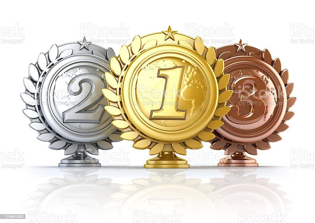 Gold, silver and bronze seals stock photo