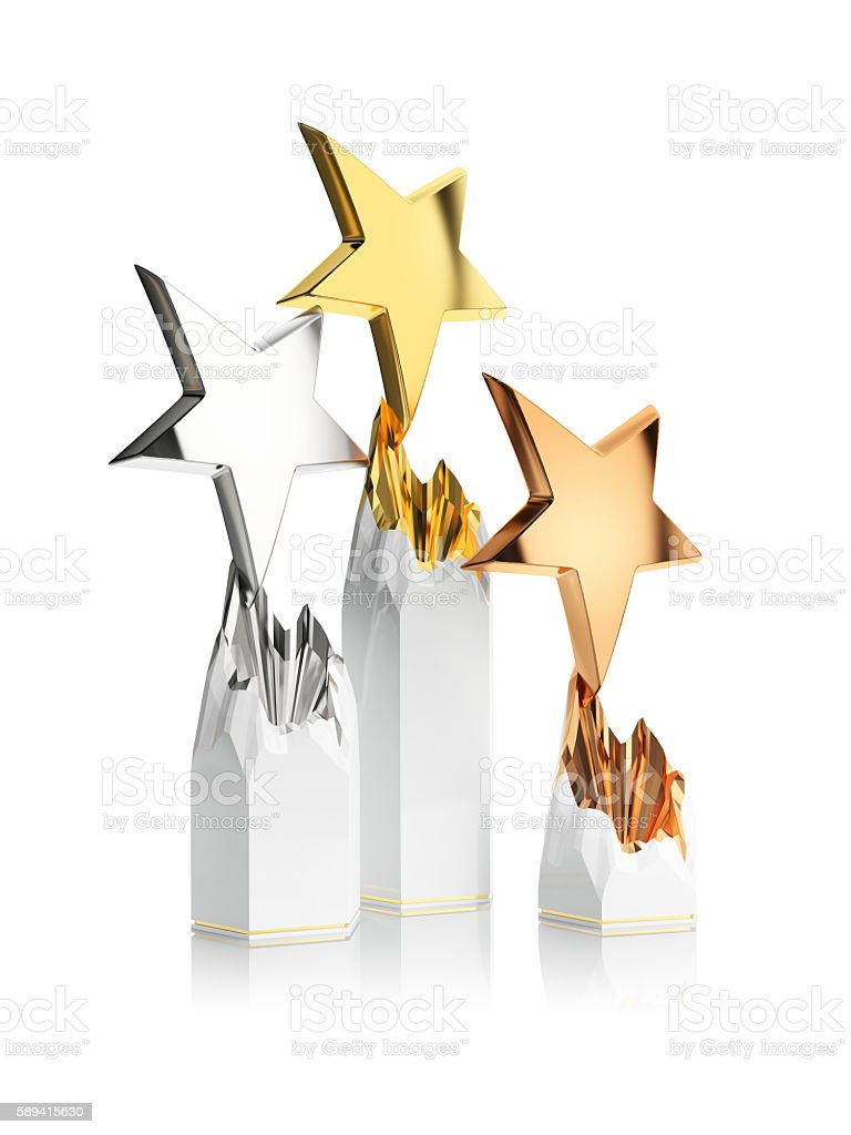 gold, silver and bronze star award stock photo