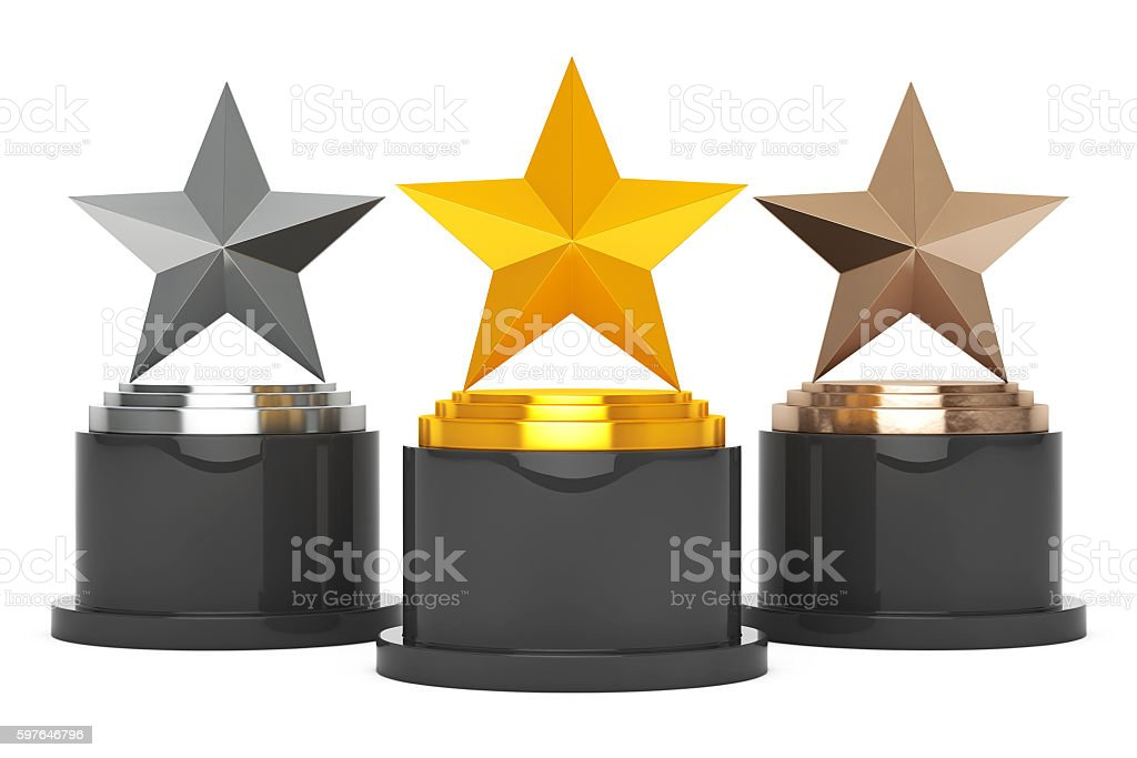 Gold, Silver and Bronze Star Awards. 3d Rendering stock photo