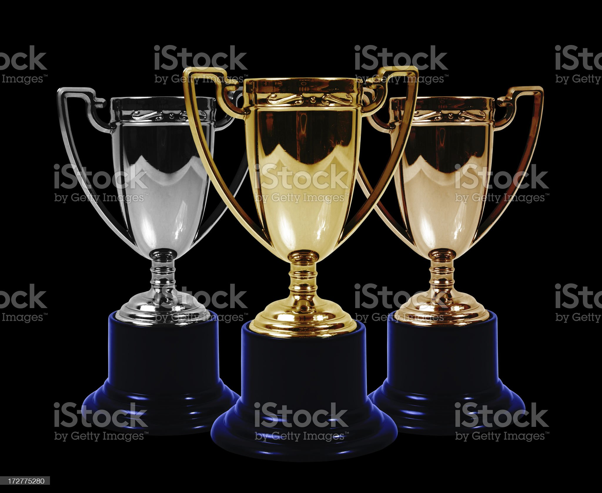 Gold silver and bronze trophies royalty-free stock photo