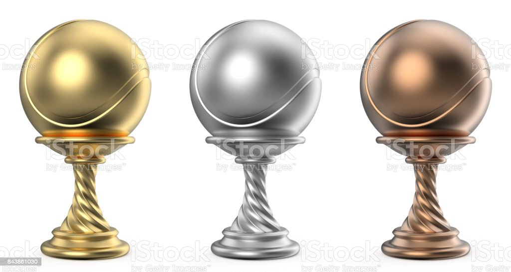 Gold, silver and bronze trophy cup TENNIS 3D stock photo